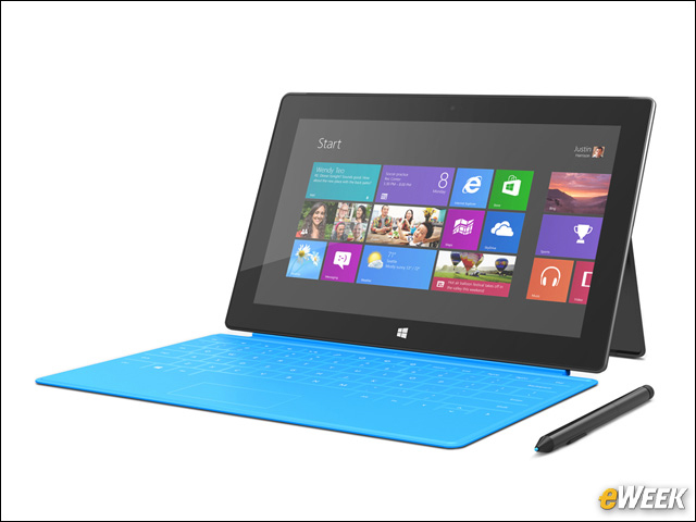 Surface Windows 8 Pro с сенсорной клавиатурой Touch Cover.  Так выглядит Surface Windows 8 Pro с голубой сенсорной клавиатурой Touch Cover.